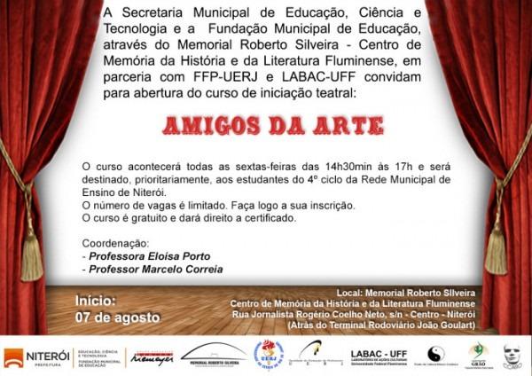 """Convite  Curso De Teatro """"amigos Da Arte"""" No Memorial"""