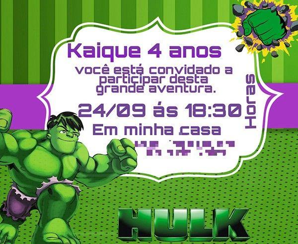 Convite Infantil Incrível Hulk