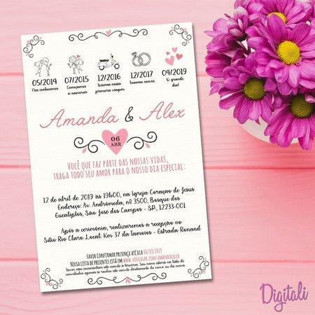Convite Casamento Rosa Moderno