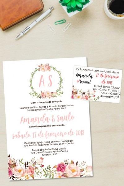 Convite Casamento Floral Rose Editável No Word □ Clique No Pin E