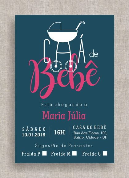 Convite Digital Chá De Fraldas 20 Chá De Bebê, Tema Moderno