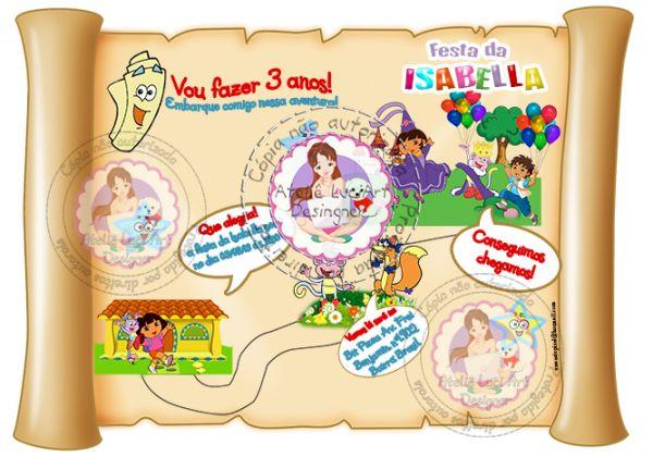 Arte Do Convite Mapa Dora Aventureira