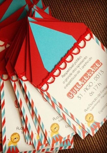 Convite Personalizado Com Tema De Circo