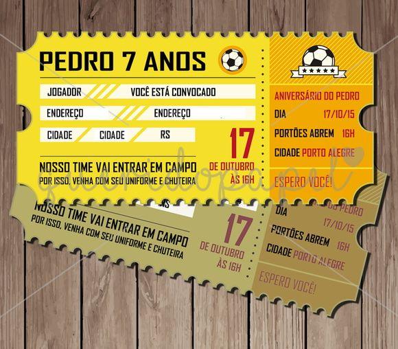 Arte Digital De Convite Ingresso De Futebol (frente E Verso