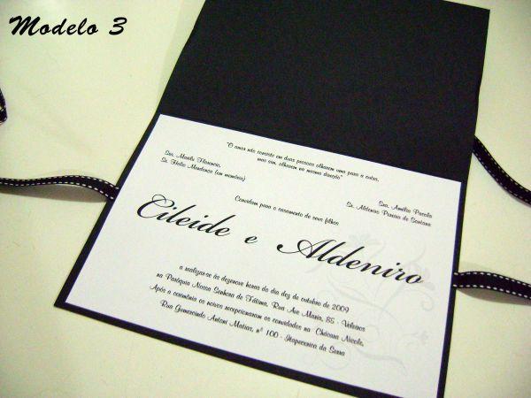 Convite Casamento Preto Branco