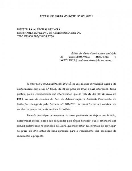 Edital De Carta Convite Para Aquisição De Instrumentos