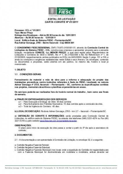 Edital De LicitaÇÃo Carta Convite Nº 01 2011
