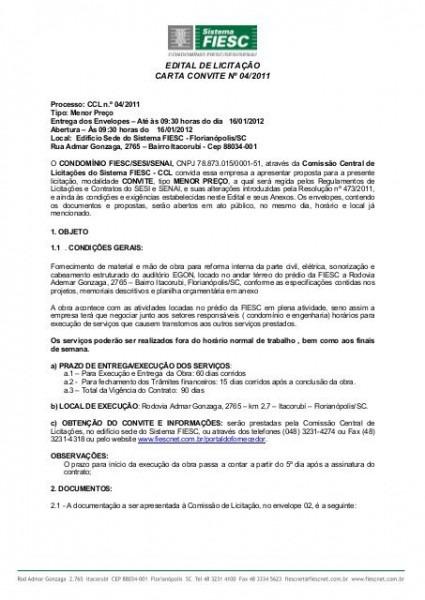 Edital De LicitaÇÃo Carta Convite Nº 04 2011