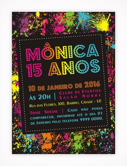Convite Digital 15 Anos 11 Tema Neon, Neon Party, Sweet Sixteen