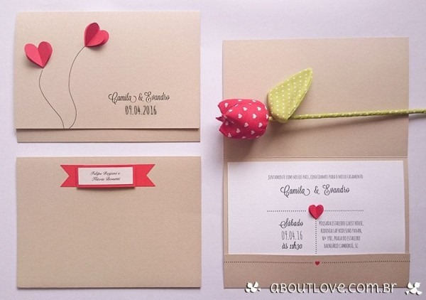 Convite De Casamento Com Corações Feitos Em Dobradura