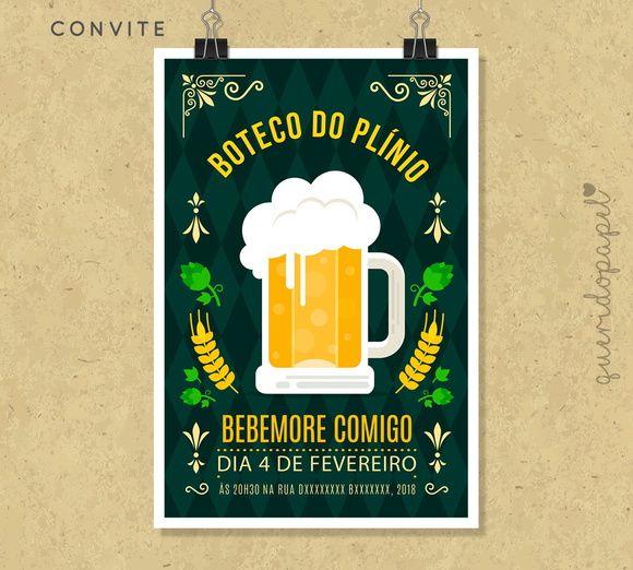 Festa Boteco, Convite Boteco, Festa Bar, 20 Anos, 30 Anos, Festa