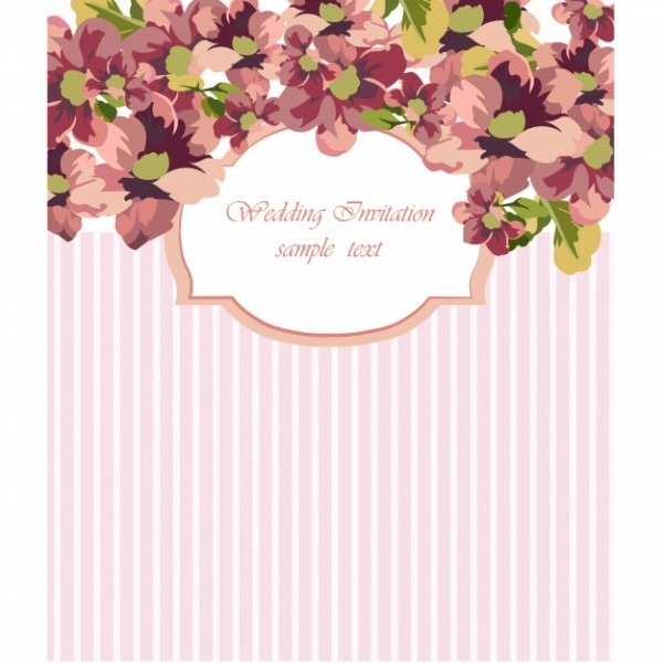 Floral Wedding Invitation With Pink Stripes