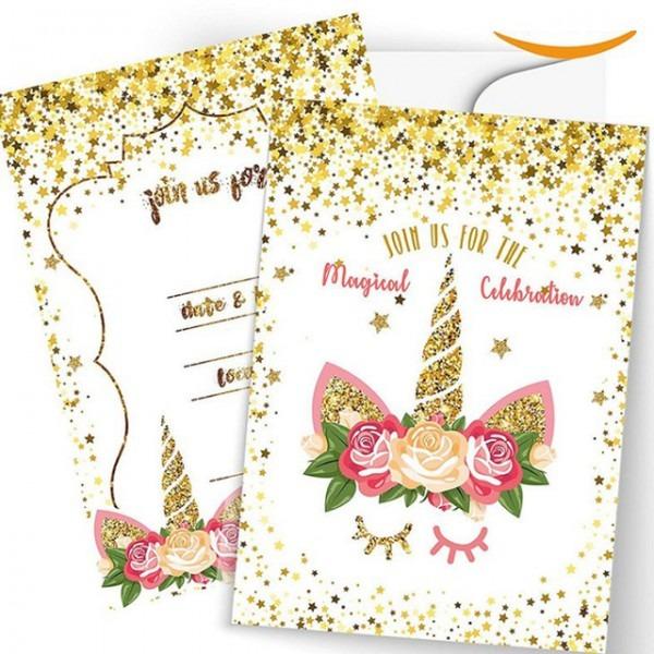 Folhas 5 Unicórnio Unicórnio Convites Cartão Envelope Cartão
