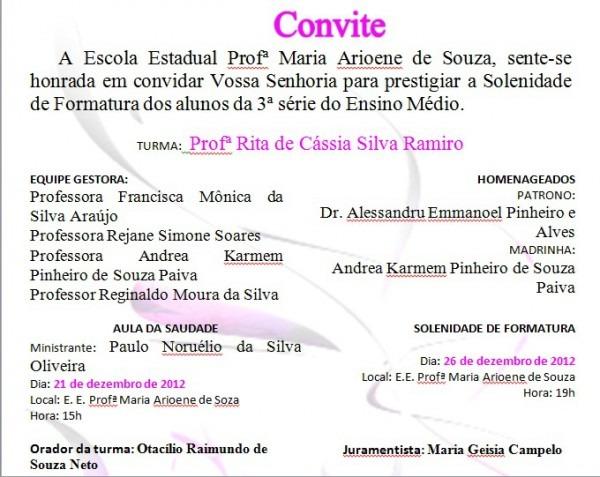 Tia MÔnica AraÚjo  Convite De Formatura Dos Concluintes 2012