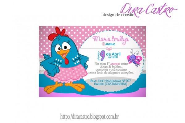 Dira Personalizados  Convite Da Galinha Pintadinha Rosa