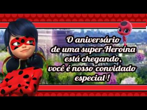 Convite Animado (sem Foto) Miraculous Ladybug