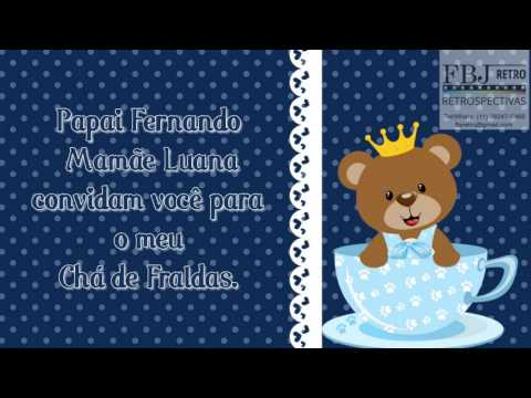 Convite Animado Chá De Bebê Ursinho Rei Do Lorenzo Amostra 1