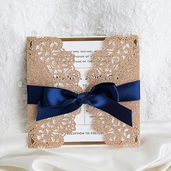 Luxuoso Ouro Rosa E Azul Marinho Fita Glitter Laser Cut Convites