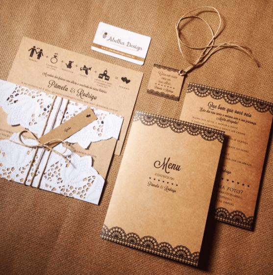 Convite Casamento Papel Kraft