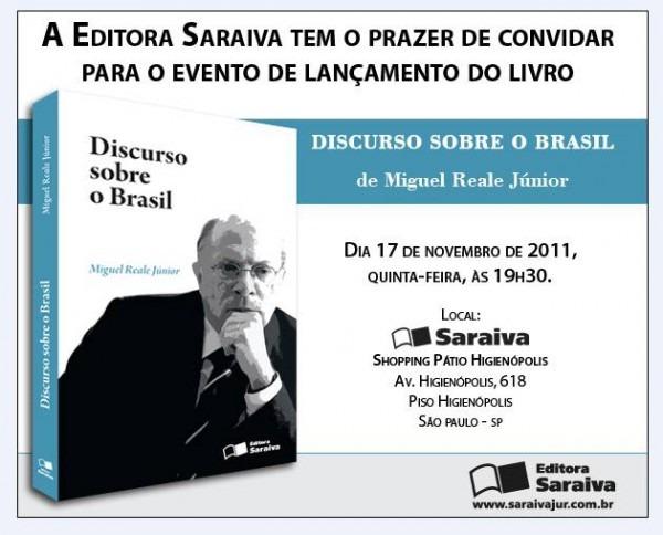 Convite Para Lançamento Do Livro  Discurso Sobre O Brasil , De