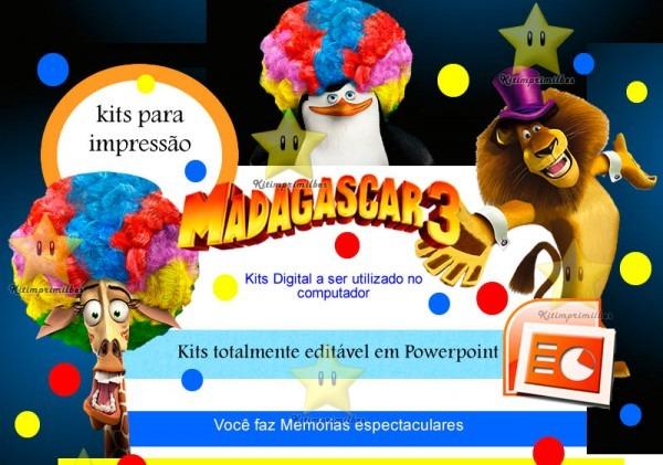 Kit Madagascar 3 + Desenha Convites + Cartões + Ref 002 (convites