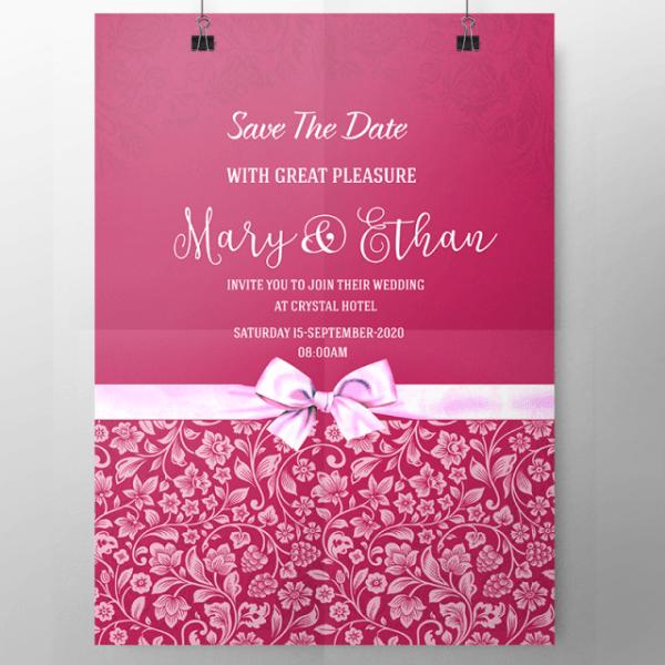 Convite De Casamento Cor De Rosa Com Laço Modelo Para Download