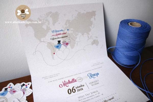 Convite De Casamento Com Mapa Mundi