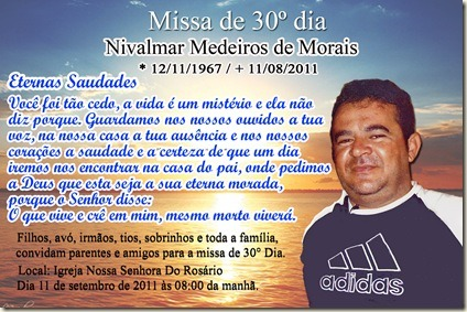 São Mamede 1  Convite Missa De 30° Dia – Nivalmar Medeiros De Morais