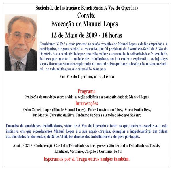 Evocação De Manuel Lopes