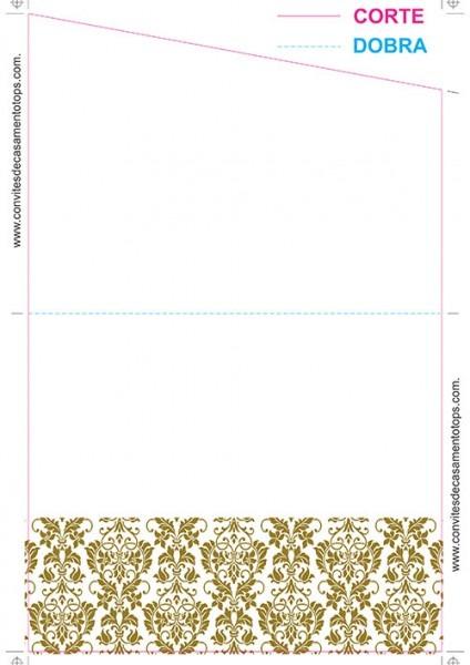 Modelo 01] Convite De Casamento Simples Com Corte Transversal