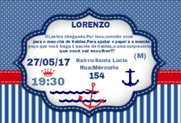 Convite Chá De Fraldas Do Lorenzo!!!