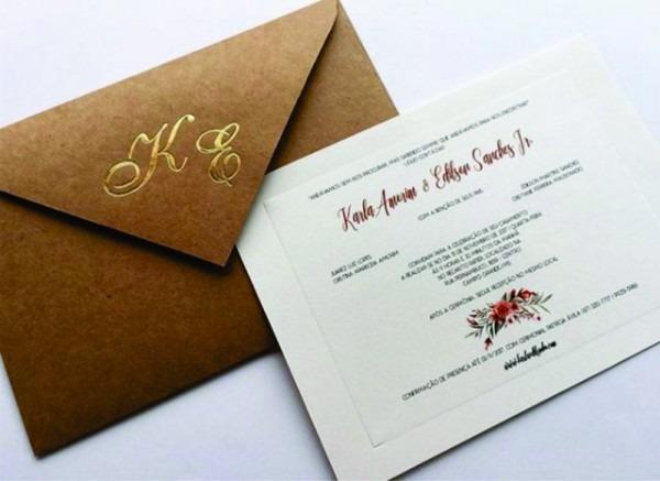 Convite De Casamento Rústico Com Hotstamp Ref 484