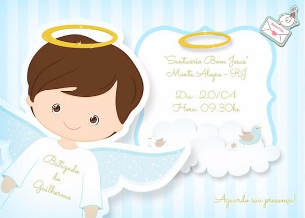 Convite Batizado Menino Por R$12,00