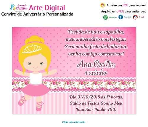 Convite Aniversário Bailarina
