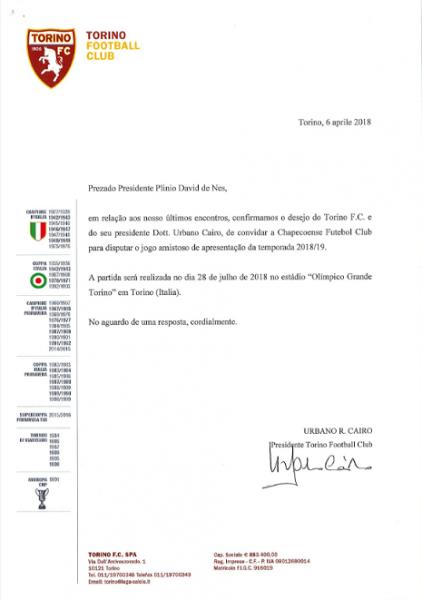 Chapecoense Recebe Convite Oficial Para Amistoso Contra O Torino