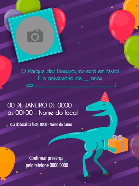 Convite Online Dinossauro Editar Grátis