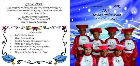 Convite Da Turma De Formatura Do Abc Com Foto – Convite Infantil