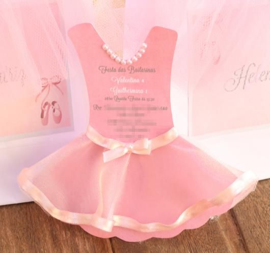 Convites Bailarina Vestido Com Tule