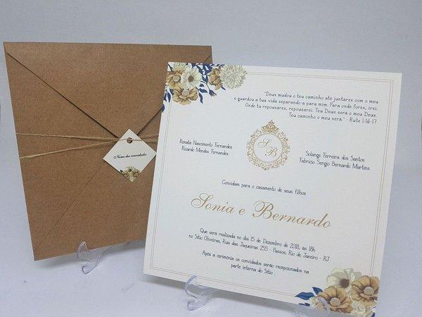 Convite Floral Creme Envelope Kraft