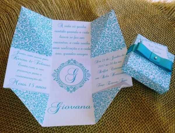 100 Convites Caixa 15 Anos Azul Tiffany + 200 Individuais