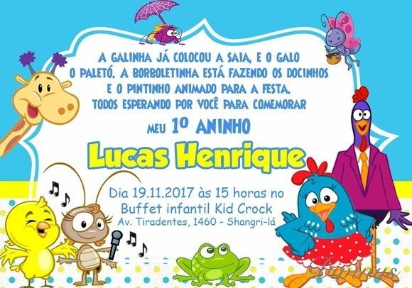 10 Convites Agenda Escolar Festa Galinha Pintadinha