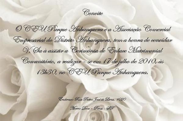 Convite Do Casamento Comunitário No Ceu Parque Anhanguera