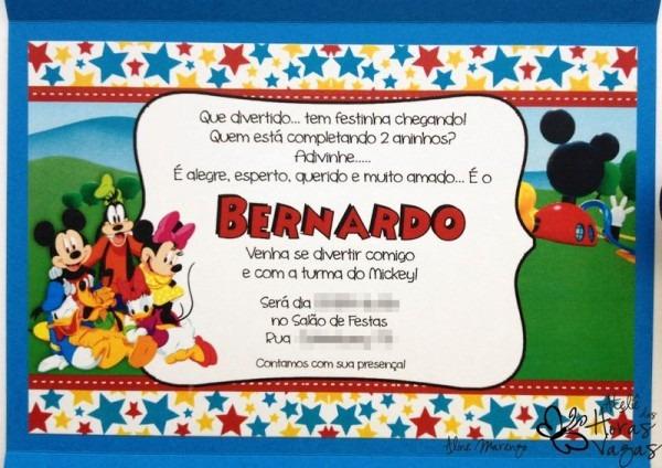Convite Artesanal Turma Do Mickey