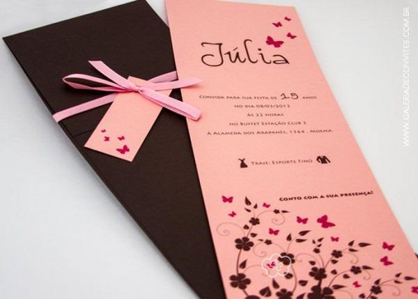 Convite Para Debutante Marrom E Rosa