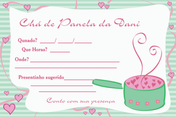 Convites De Chá De Cozinha Para Imprimir Grátis