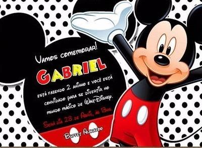 20 Convite De Aniversario Tema Mickey