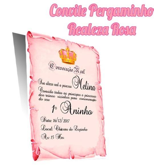 20 Convites Pergaminho Realeza Rosa Com Foto