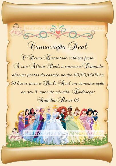 Convite Pergaminho Princesas Disney