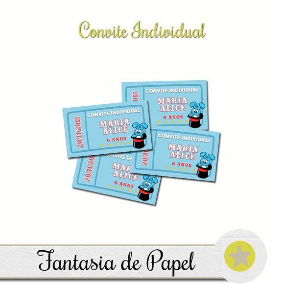 Fantasia De Papel  Convite Individual Circo Da Turma Da MÔnica