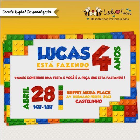 Convite Festa Lego Para Imprimir